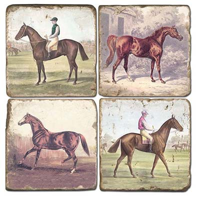 $54.00 HORSES COASTER SET/4 W/ IRON STAND