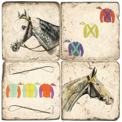 $54.00 COASTERS-HORSE/SILKS W/ IRON STAND