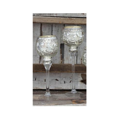 $30.00 SILVER GLASS VOTIVE CANDLESTICKS MED.