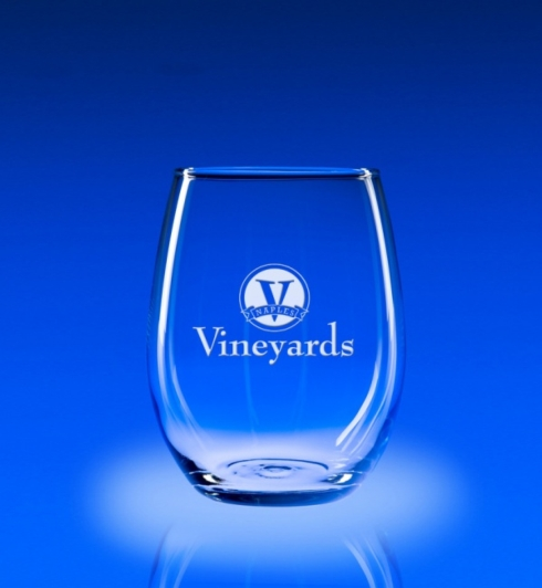 $64.00 STEMLESS WINE W/ MONOGRAM SET/4