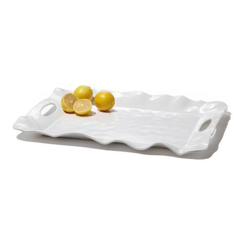 $57.00 Havana rect tray w/handles white