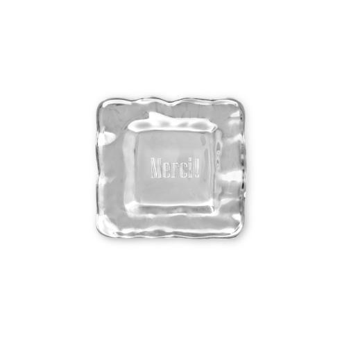 "$43.00 square engraved tray (""MERCI!"")"