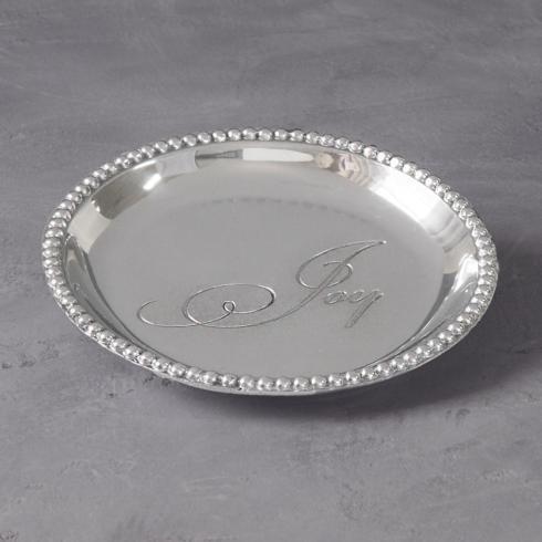 $39.00 Organic Pearl rnd engraved tray- Joy