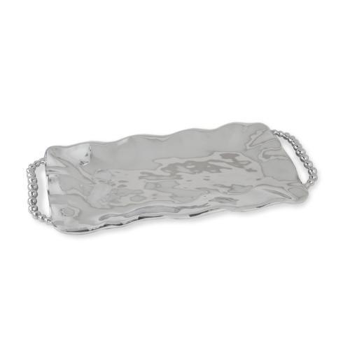 $128.00 perla long rect tray w/handles
