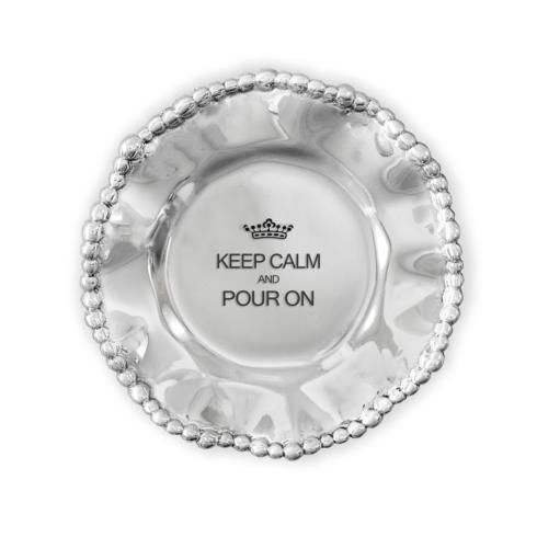 $39.00 Organic Pearl Wine Plate- Keep Calm And Pour On