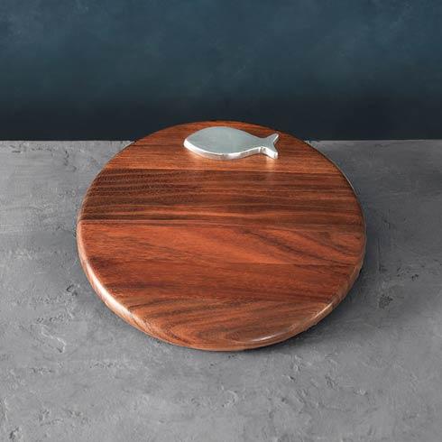 """$93.00 Carmel Fish 12"""" Round Cutting Board"""