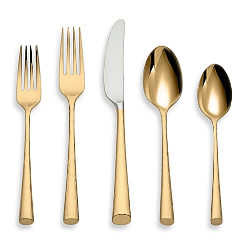 $90.00 Imperial Cavier Gold flatware 5 piece place setting