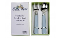 $15.00 Blue Stainless Baby Flatware Set