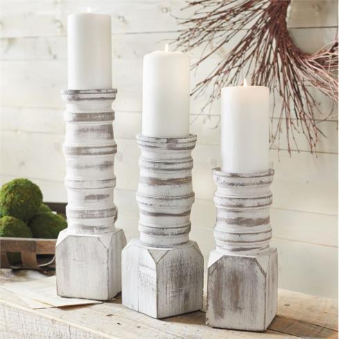 $27.95 White Washed Candle Holder - Sm