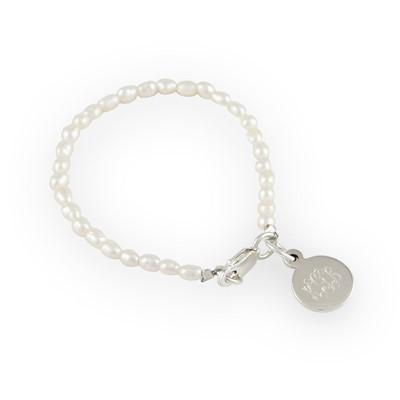 "$56.00 5"" Rice Pearl Bracelet w/ Monogram Sterling Charm"