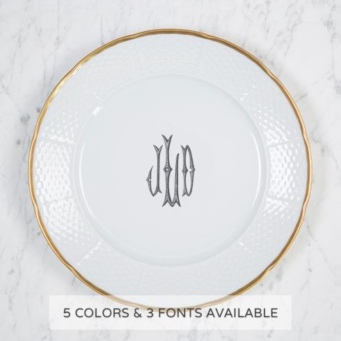 $78.00 Gold Rimmed Monogram Dinner Plate