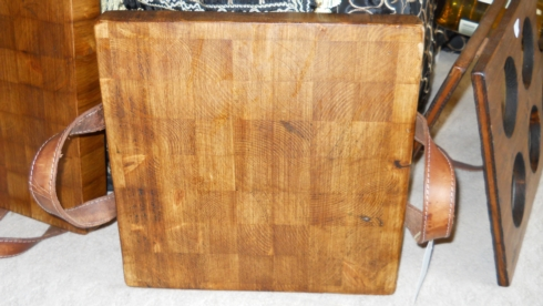 $155.00 Wooden Cutting Board with Leather Handles