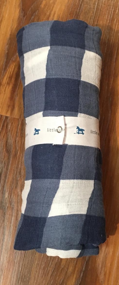 $15.99 Blue Check Cotton Swaddle Blanket by Little Unicorn