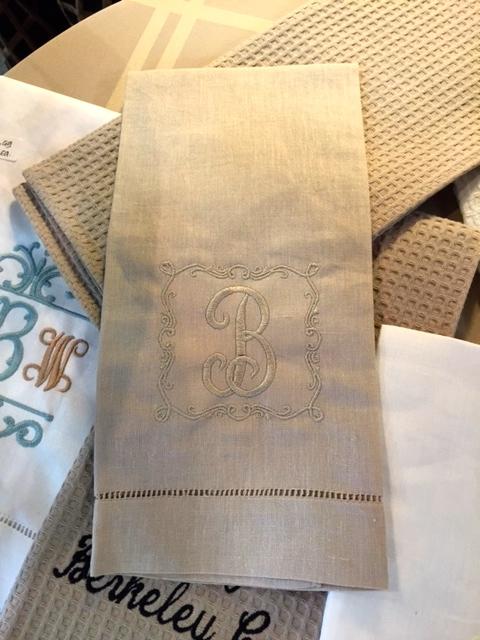 $19.99 Linen Monogrammed Towel