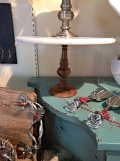 $157.00 Large pedestal with wooden base and marble top