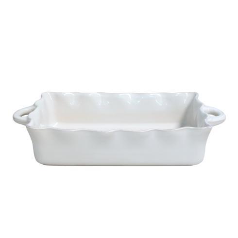 $70.50 Lg. Rect. Ruffled Baker, White