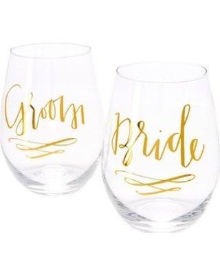 $22.00 Bride/groom wine glass pair
