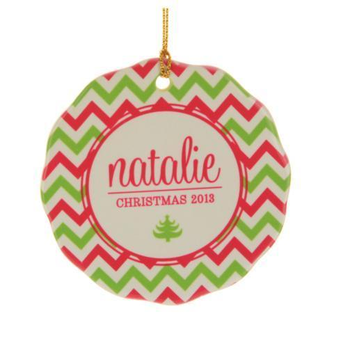 $16.00 Ornament-Pink/Green Chevron