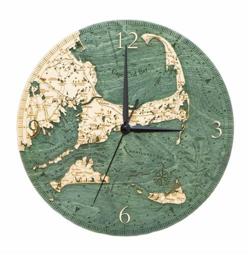 "$49.95 Cape Cod & Islands 12"" Wood Clock"