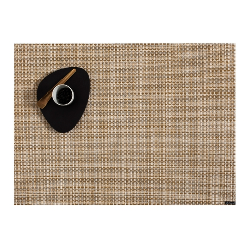 $14.50 Basketweave tablemat - White/Gold