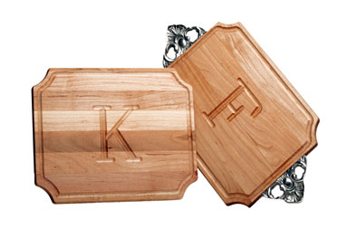 $126.00 Medium Cutting Board with Handles and Monogram