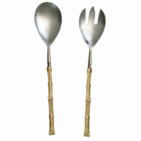 $118.00 Gold Bamboo Serving Set