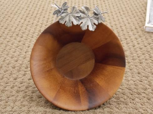 $43.95 Vagabond House Wood Bowl with Pewter Leaves