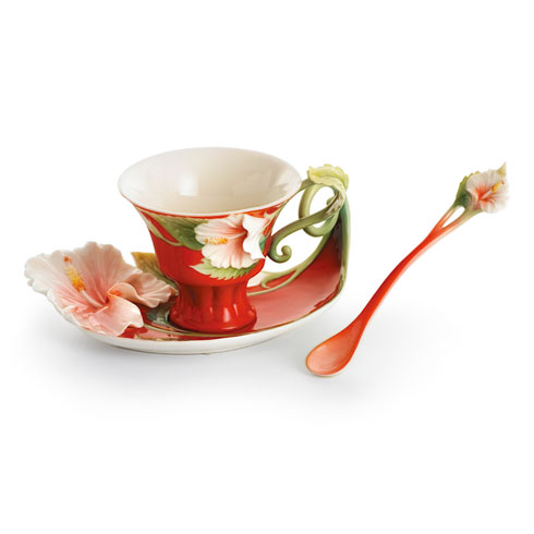 $200.00 Cup, Saucer, Spoon Set, Island Beauty