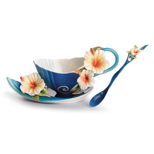 $180.00 Cup, Saucer, Spoon Set, Hibiscus (blue)