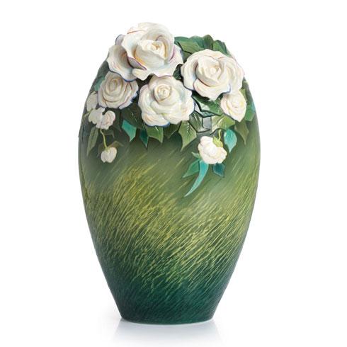 $908.00 Vase, White roses