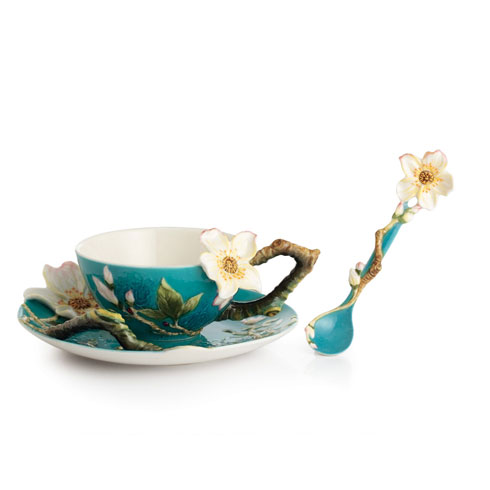 $250.00 Cup, Saucer, Spoon Set, Almond