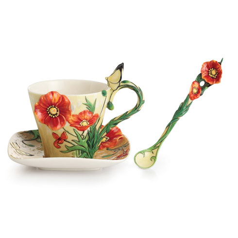$250.00 Cup, Saucer, Spoon Set, Poppy
