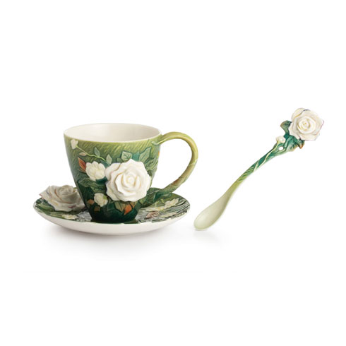 $250.00 Cup, Saucer, Spoon Set, White roses