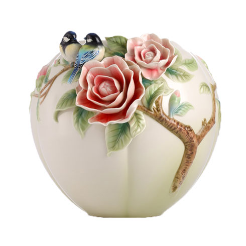 $1,089.00 Vase, Chickadee/camellia