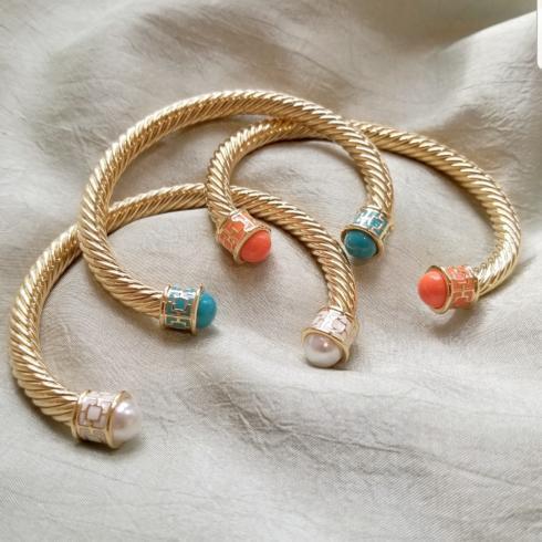 $145.00 Halcyon Days Maya Torque Turquoise and Gold Bangle