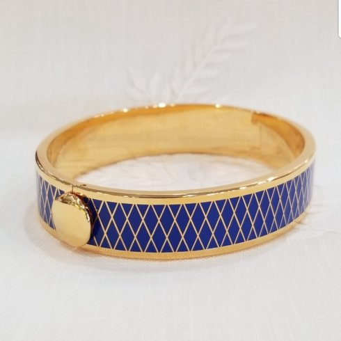 $225.00 Parterre Bangle in Deep Cobalt Blue and Gold
