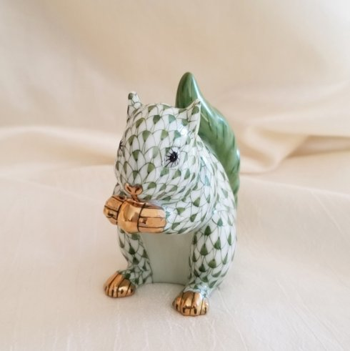 $315.00 Herend Baby Squirrel in Forest Green