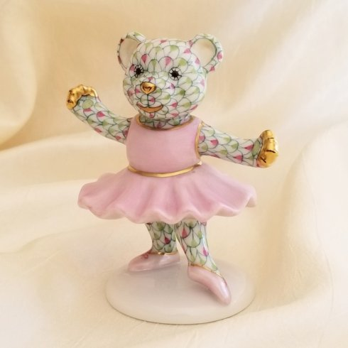 $395.00 Herend Ballerina Bear in Pink and Key Lime
