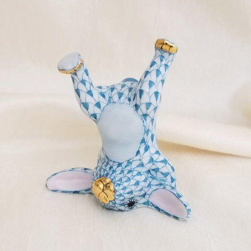 $245.00 Herend Handstand Bunny in Turquoise