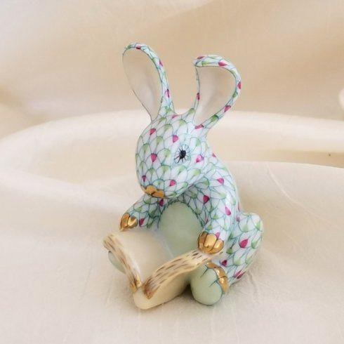 $365.00 Herend Storybook Bunny in Pink with Key Lime