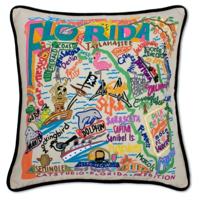 $150.00 Florida Hand-Embroidered Pillow