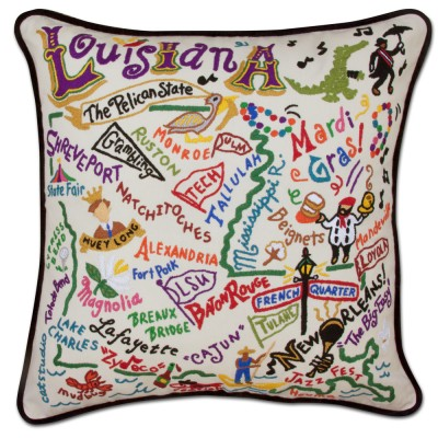 $150.00 Louisiana Hand-Embroidered Pillow