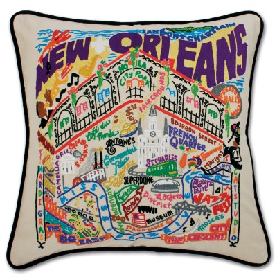 $150.00 New Orleans Hand-Embroidered Pillow