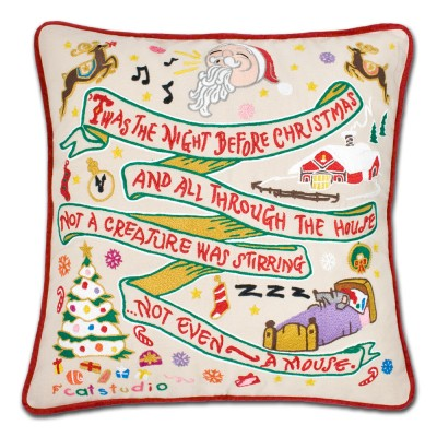 $150.00 Night Before Christmas Hand-Embroidered Pillow