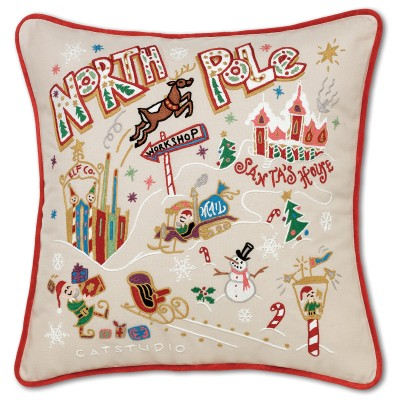 $150.00 North Pole Hand-Embroidered Pillow
