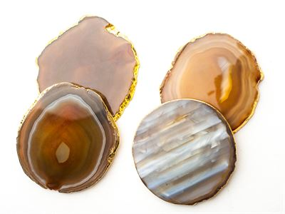 $88.00 Coaster in Brown Agate, Gold