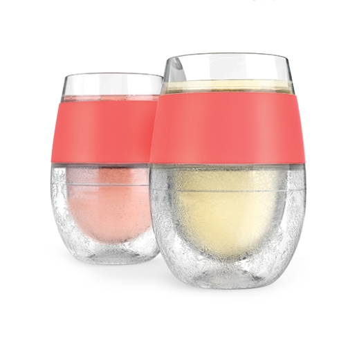 $24.95 Set of Two Coral Wine Freeze Cups