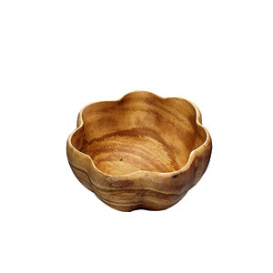 $54.00 Large Scalloped Wooden Bowl