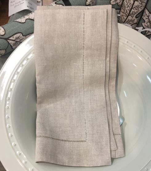 $12.00 Linen Hem-Stitched Napkin in Castlewall color