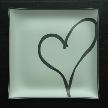 "$88.00 13"" Square Heart Plate"